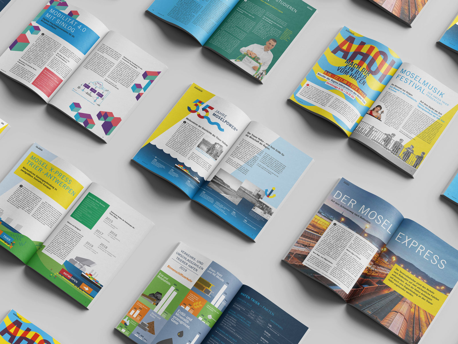 Magazindesign Moselpower für den Hafen Trier
