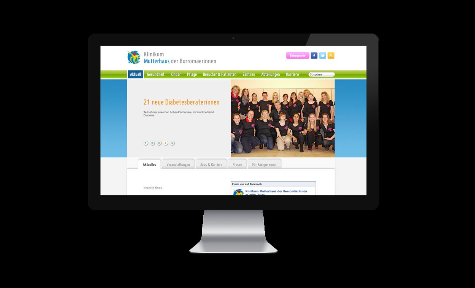 Webseite Klinikum Mutterhaus der Borromäerinnen