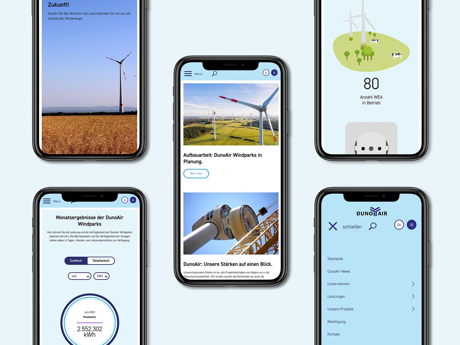 DunoAir Onlinepräsenz auf Mobilen Geräten