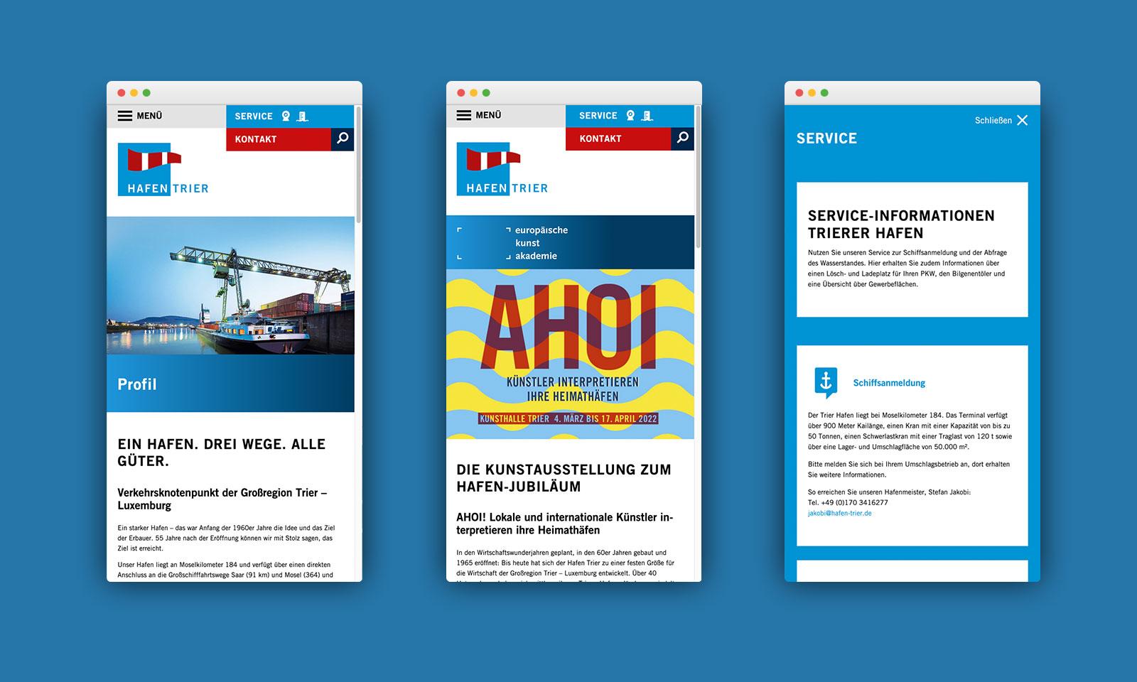 Mobile Ansicht Webseite Hafen Trier
