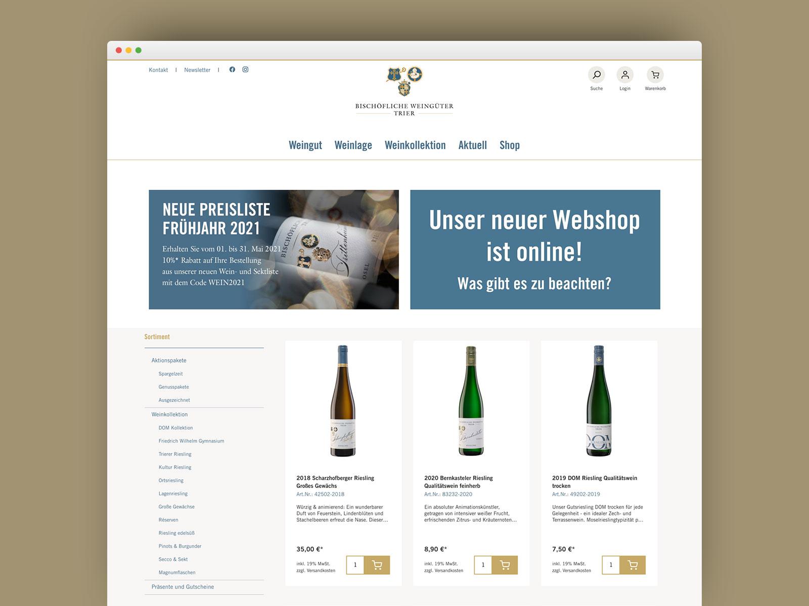 Webshop der Bischhöflichen Weingüter Trier