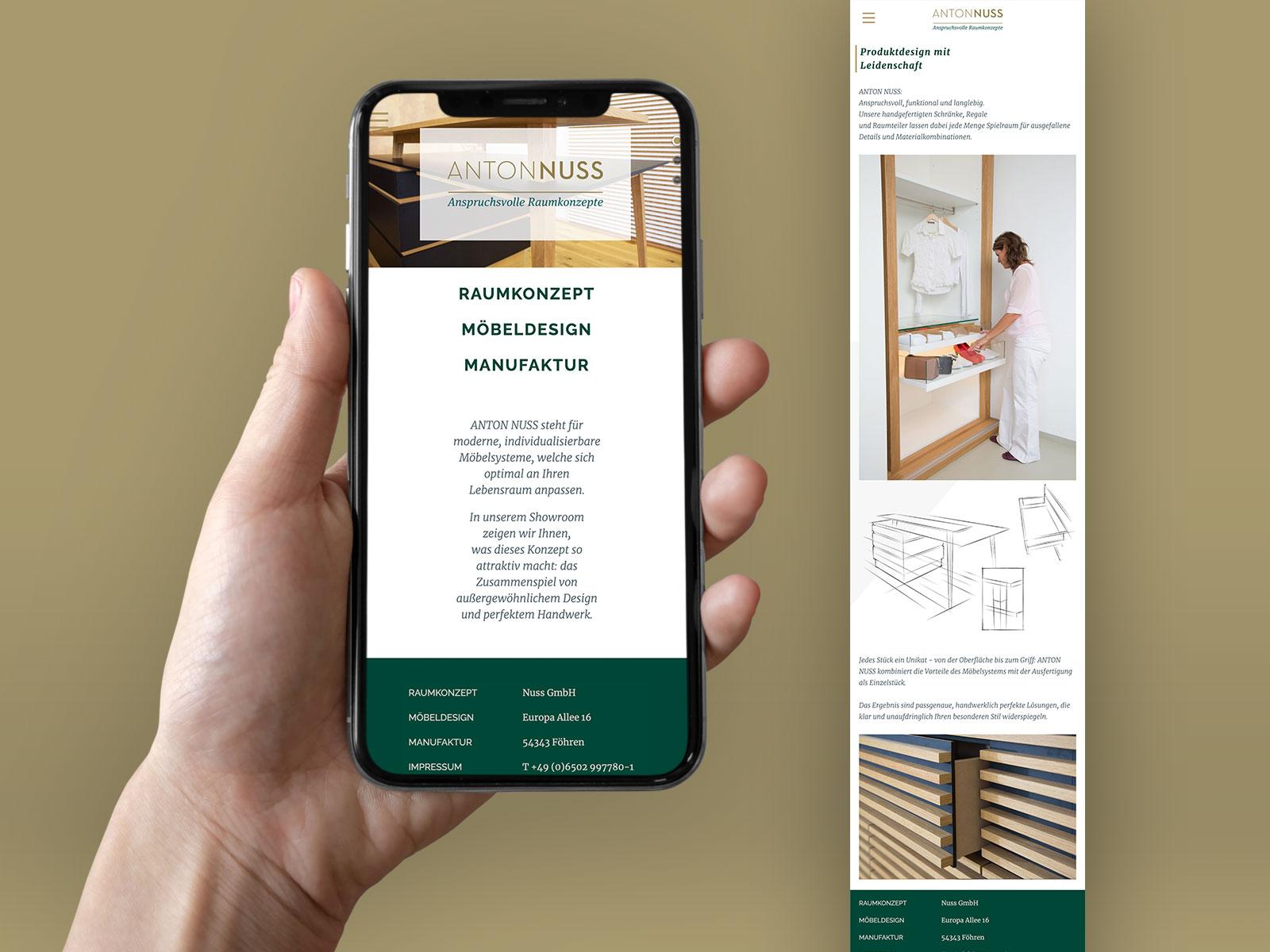 Mobile Webseite ANTON NUSS